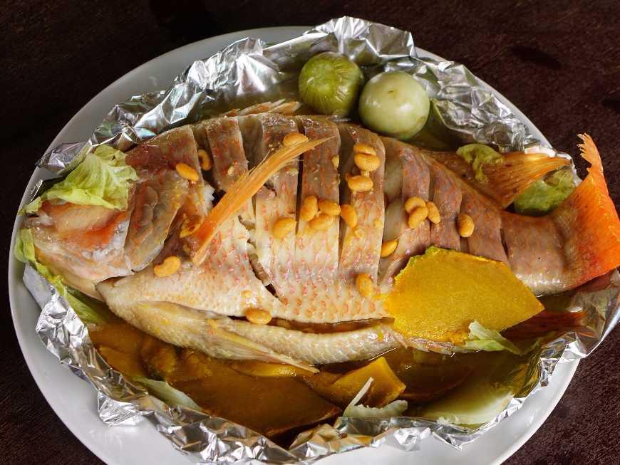 ปลาทับทิมนึ่ง