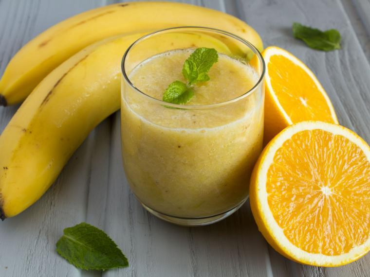 น้ำกล้วยส้มปั่น